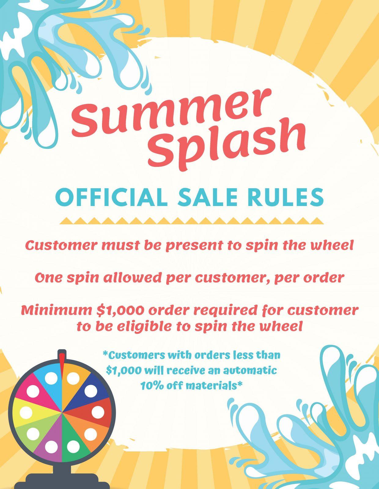 Summer splash sale rules banner | Staff Carpet