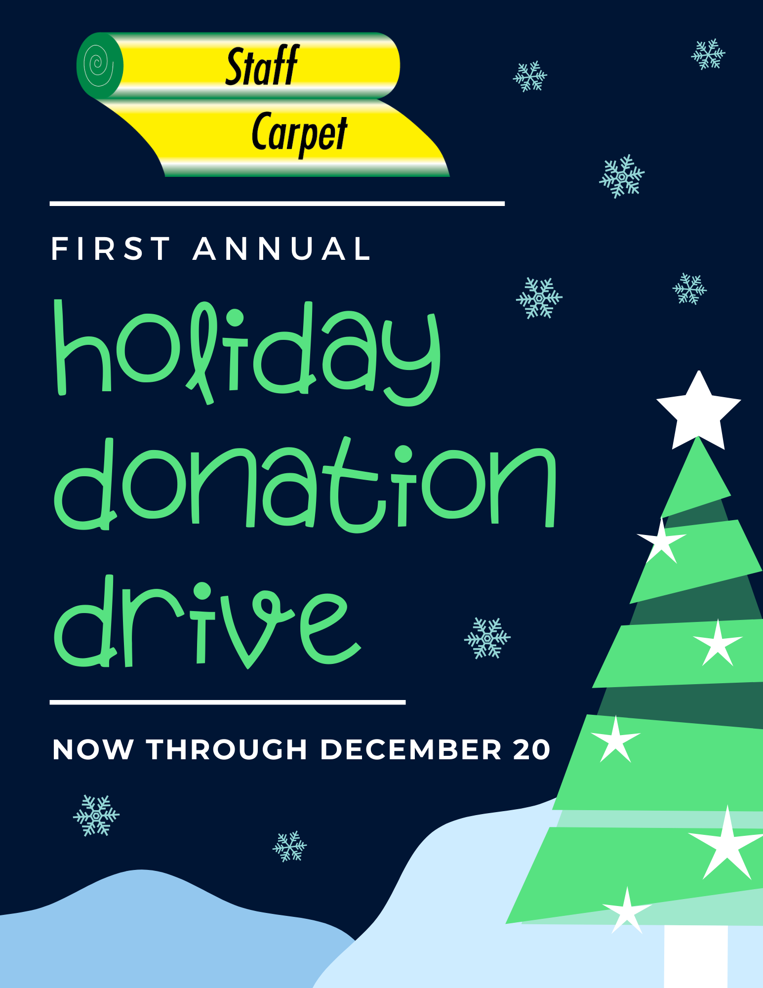 Holiday donation drive banner | Staff Carpet
